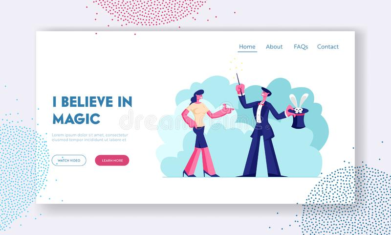 Circus Magical Trick Website Landing Page. Woman Watching Entertainment Magician Holding Top Hat with Bunny. Artist royalty free illustration