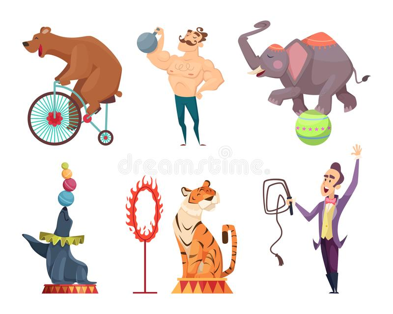 Circus mascots. Clouns, performers, juggler and other characters of circus royalty free illustration