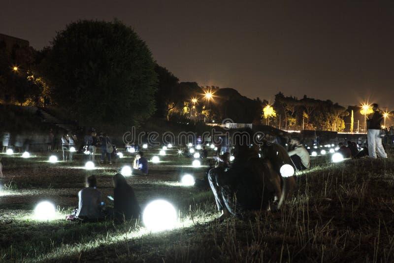 Circus Maximus illuminated by glowing balls royalty free stock photos