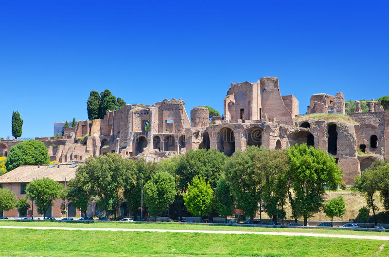 Circus Maximus.Ruins of Palatine hill, Rome,Italy. City landscape in a sunny day stock photography