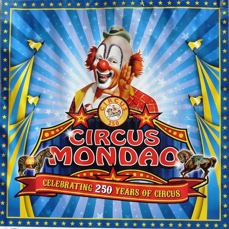 Circus Mondao Poster. A photo of the Circus Mondao poster with a clown royalty free stock image