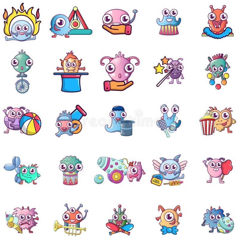 Circus monster icons set, cartoon style. Circus monster icons set. Cartoon set of 25 circus monster vector icons for web isolated on white background royalty free illustration