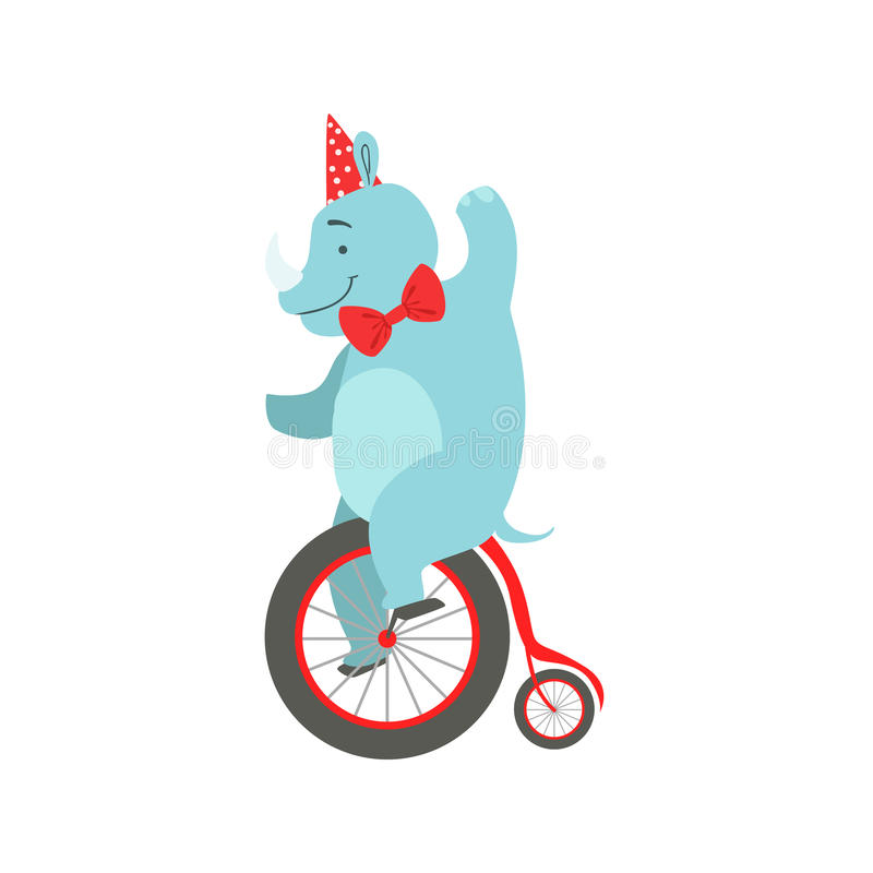 Circus Opgeleid Rinocerosdier in van de Partijhoed en Vlinderdas de Fietsstunt van Kunstenaarsperforming riding vintage voor het  stock illustratie