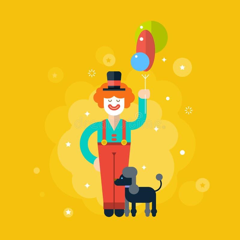 circus Pagliaccio felice con i palloni ed il cane royalty illustrazione gratis