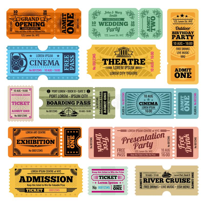 Download Circus Party And Cinema Vector Vintage Admission Tickets Templates Stock