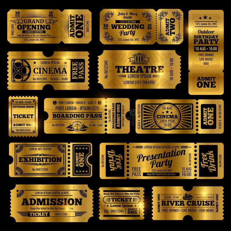 Circus, party and cinema vector vintage admission tickets templates. Golden tickets isolated on black background royalty free illustration