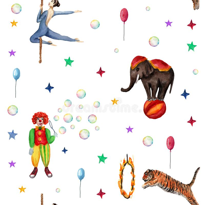 Circus pattern, elephant, clown, soap bubbles, stars, tiger, fire ringg, acrobat. Watercolor illustration on white royalty free illustration