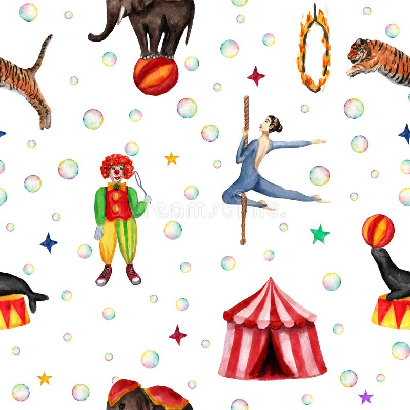 Circus pattern, elephant, seal, tiger, tent, clown, soap bubbles and acrobat. Watercolor illustration on white stock illustration