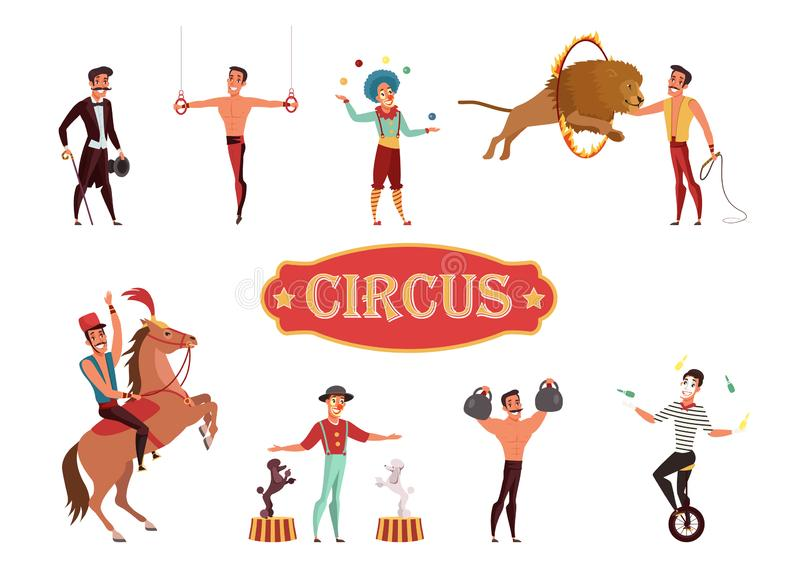 Circus performance flat vector illustration isolated on white background stock illustration