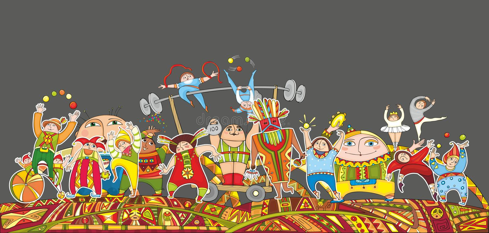 Circus Performance Parade Crowd vector illustration