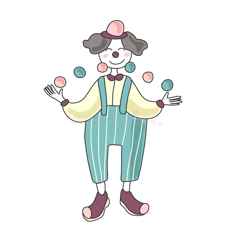 Circus performer. Man clown juggling balls. Vector illustration, isolated on white background. vector illustration