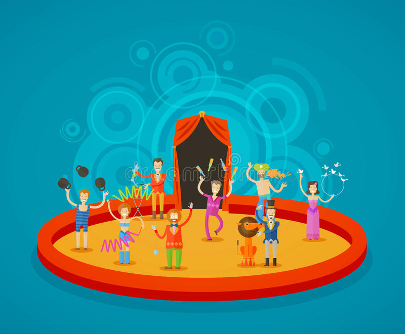 Circus. Performers at the arena royalty free illustration