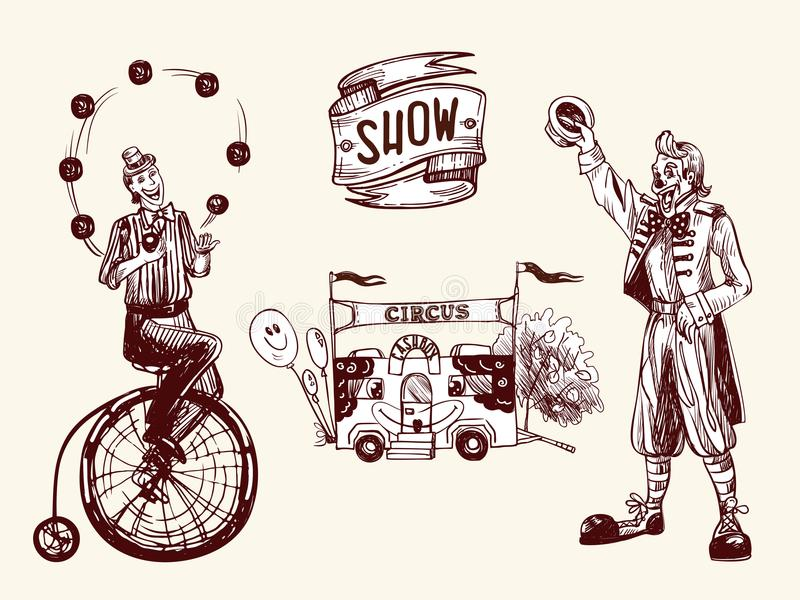 Circus performers vector illustration
