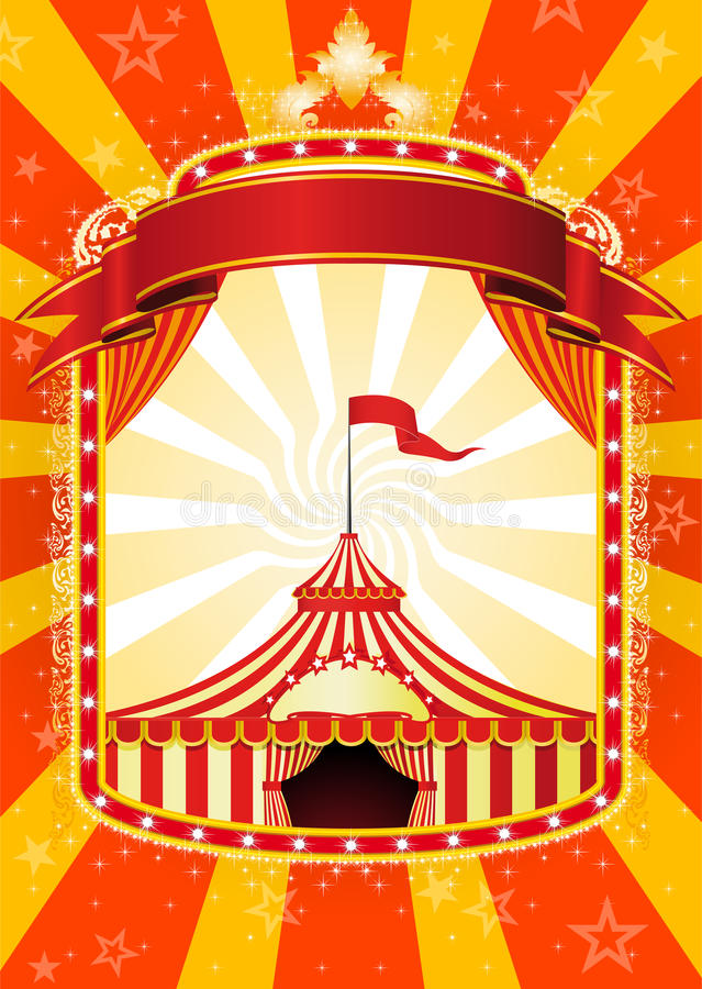 Circus poster. Advertising poster with banner and Big Top Circus vector illustration