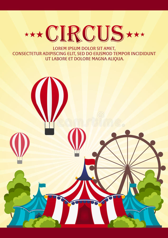 Circus Poster. Amazing show. Vector Flat illustration. Circus Poster. Amazing show. Vector Flat illustration stock illustration