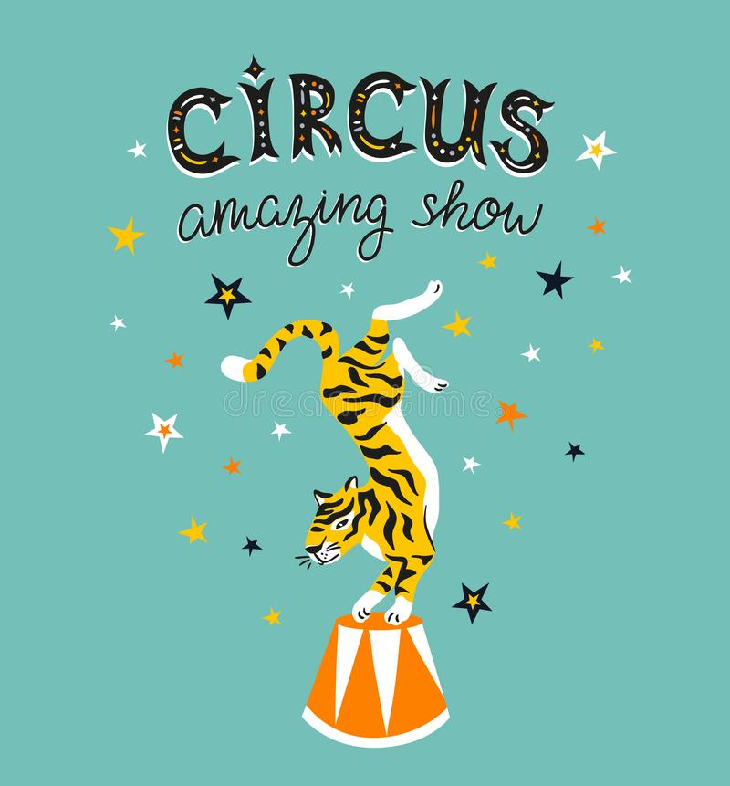 Circus poster with cartoon tiger on the blue background with stars. Vector carnival card. vector illustration