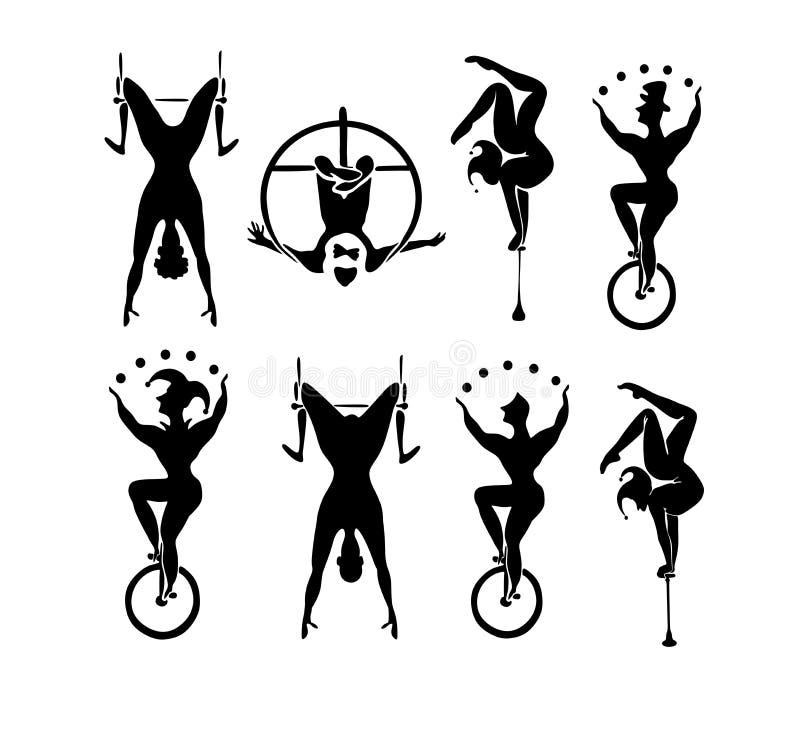 circus Reeks vectorcircussilhouetten royalty-vrije illustratie