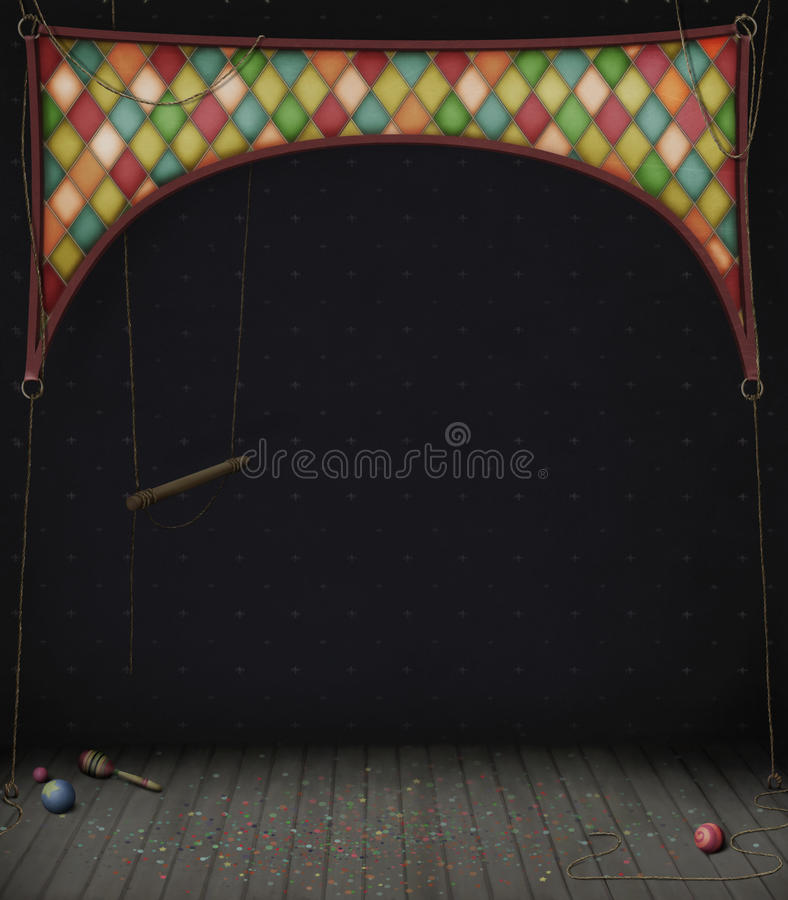 Circus Room with swings and balls vector illustration