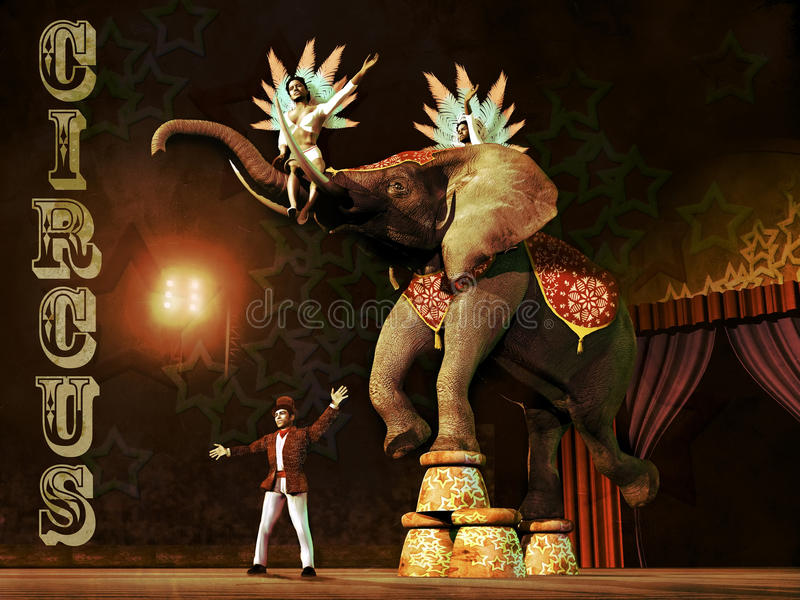 Circus scene. A circus elephant supporting a woman on the back and another woman on his trunk, in balance on four stools. The scene is presented by the tamer