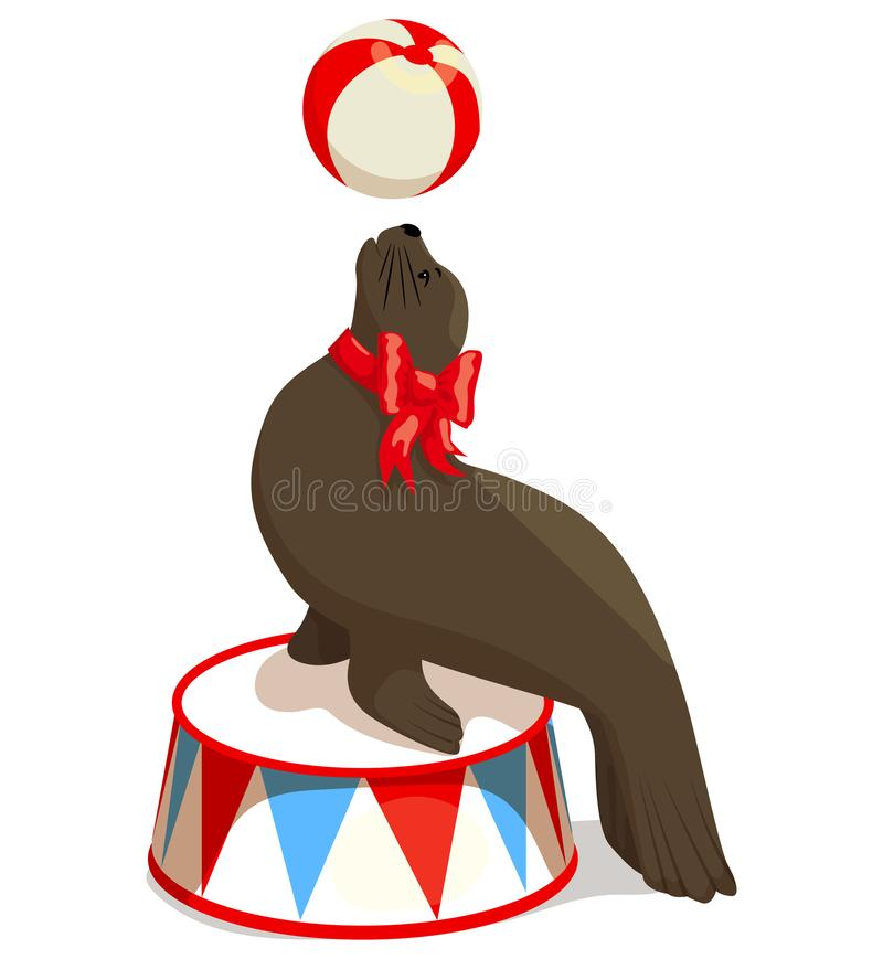Circus seal with a ball royalty free illustration