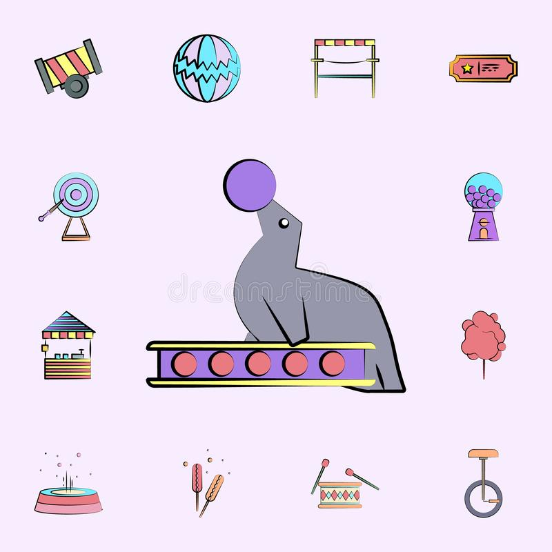 circus seal colored icon. circus icons universal set for web and mobile vector illustration
