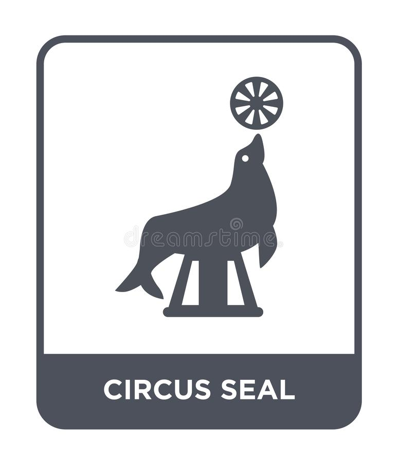 Circus seal icon in trendy design style. circus seal icon isolated on white background. circus seal vector icon simple and modern. Flat symbol for web site royalty free illustration