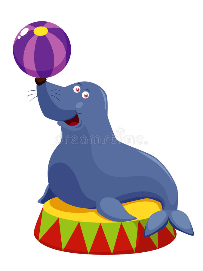 Download Circus seal playing a ball stock vector. Image of balance - 27650656