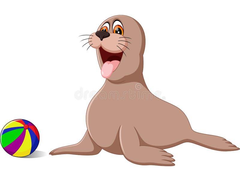 Circus seal playing royalty free illustration