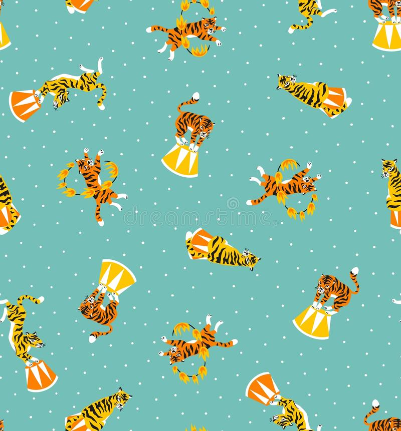Circus seamless pattern with cartoon tigers on the blue dots background. Carnival design. royalty free illustration