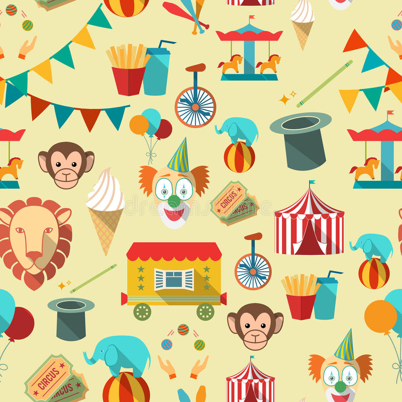 Circus seamless pattern vector illustration