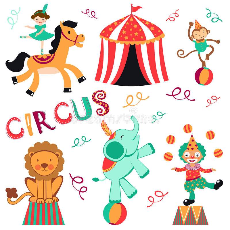 Download Circus set stock vector. Illustration of performer, tamer - 26145591