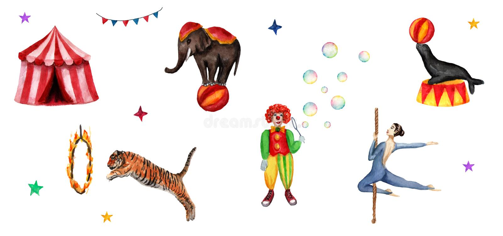 Circus set elements, elephant, clown, seal, tiger, tent, flags, soap bubbles, fire ring and an acrobat. Watercolor illustration vector illustration