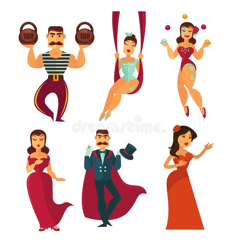 Circus show artists and singers men and women vector illustration