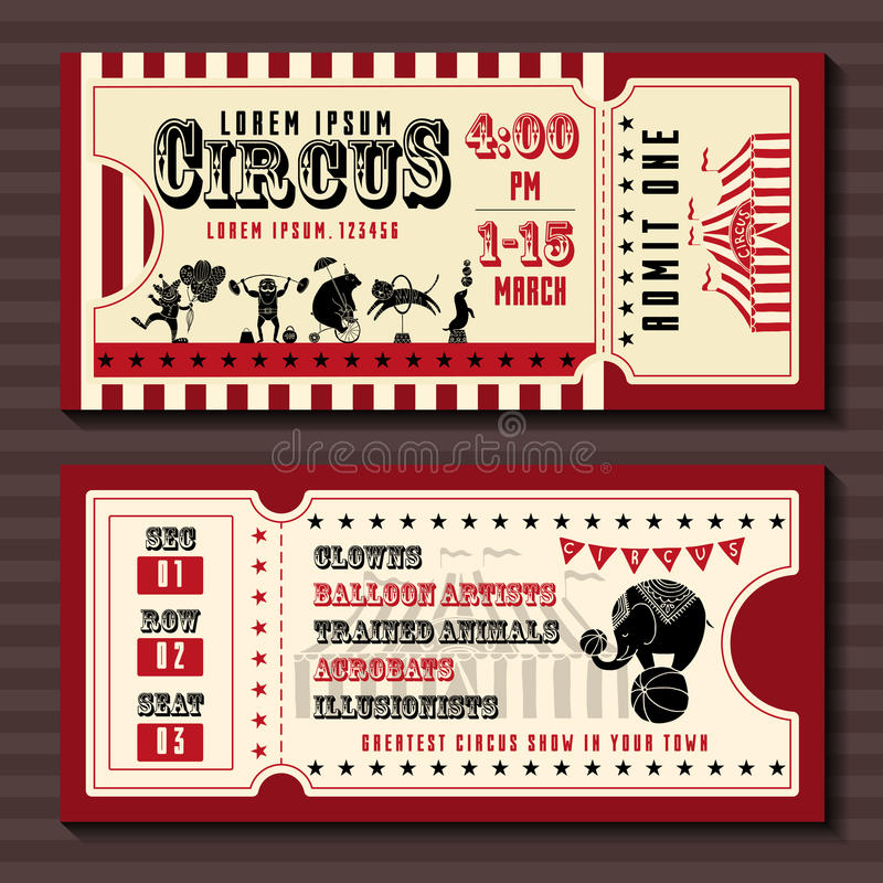 Circus show horizontal tickets front and back side templates royalty free illustration