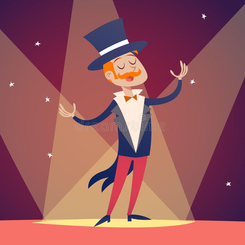 Circus Show Host Boy Man in Suit with Cylinder Hat. Icon on Stylish Background Retro Cartoon Design Vector Illustration vector illustration