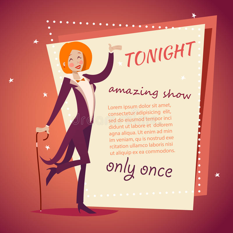 Circus Show Host Lady Girl in Suit with Cane Icon. On Stylish Background Retro Cartoon Design Vector Illustration royalty free illustration