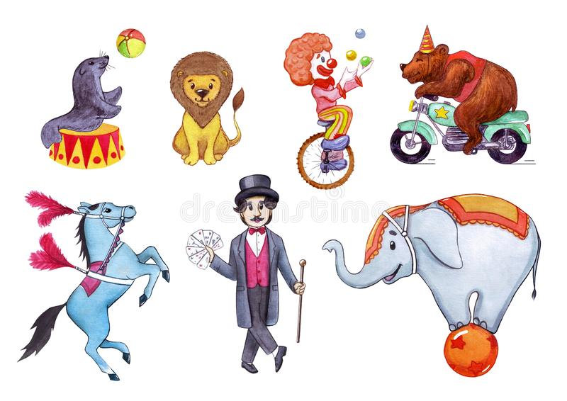 Circus, show, performance. Watercolor illustration set of circus artists stock image