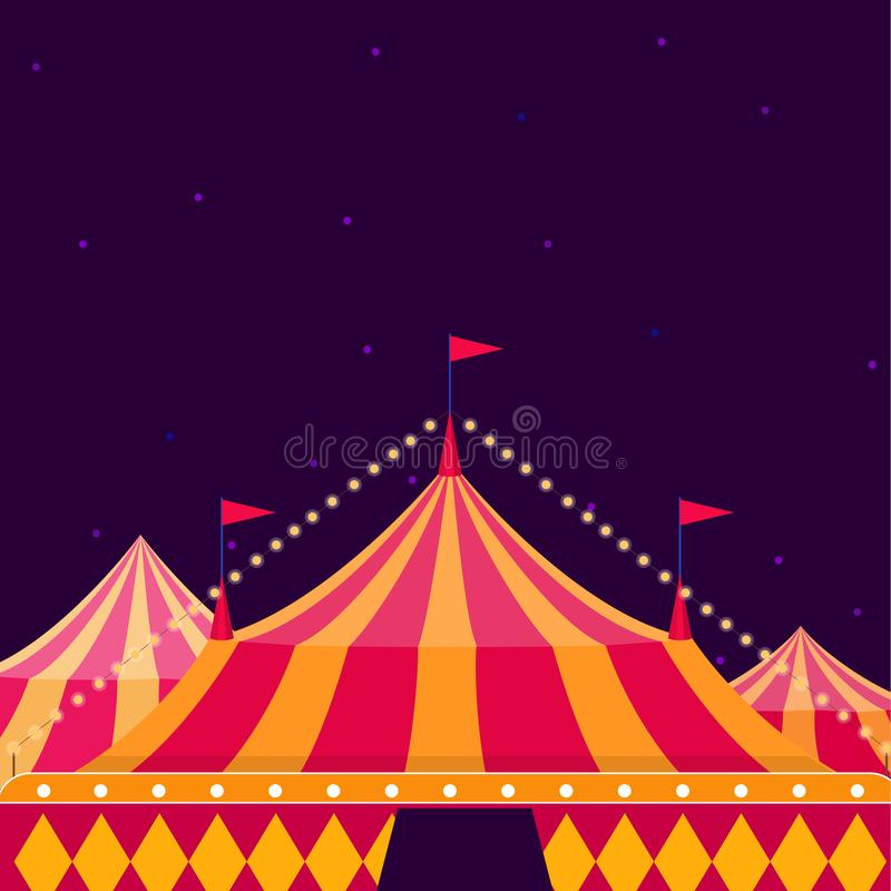 Circus show poster with big top on dark background stock illustration