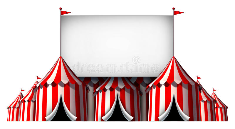 Circus Sign. As a group of big top carnival tents with a large blank billboard as a fun entertainment icon for a theatrical celebration or party festival vector illustration