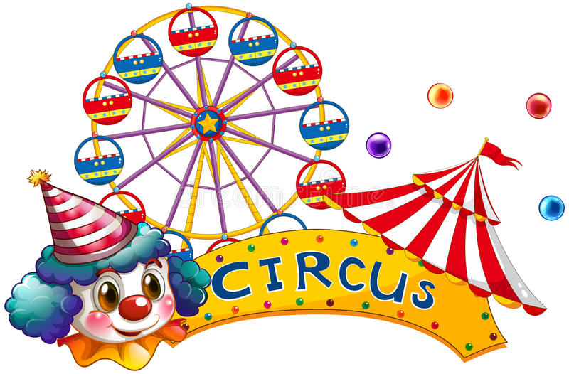 Download A Circus Signboard With A Clown And A Tent Stock Vector - Illustration: 30349984