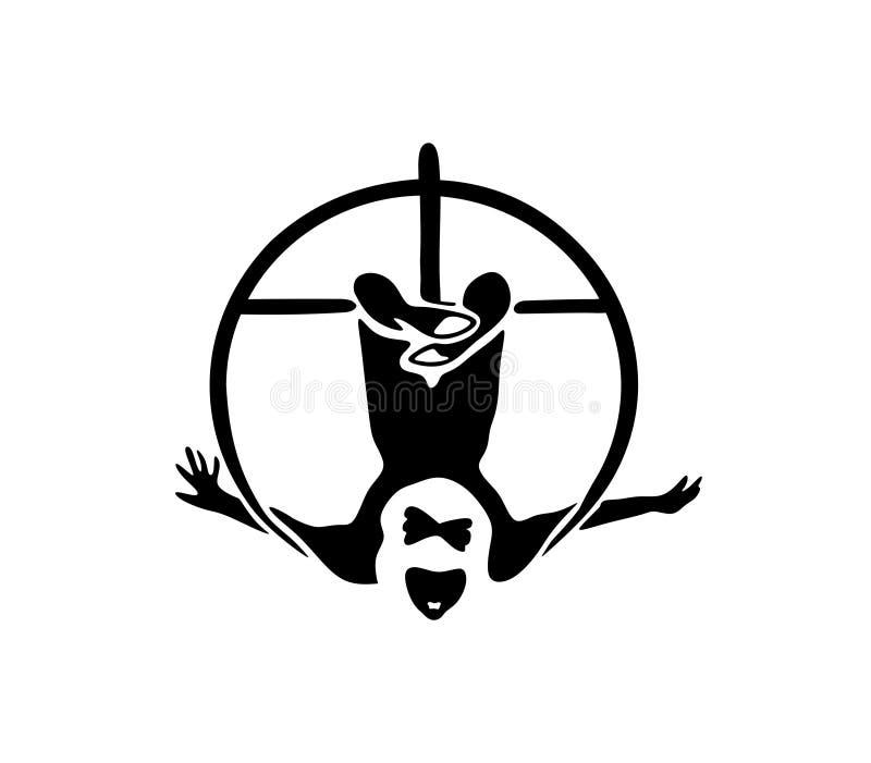 circus Silhouet van een Luchtturner op een hangende Hoepel stock illustratie