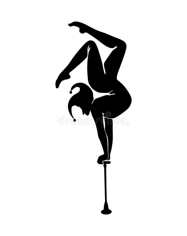 circus Silhouet van een Narrenturner op Equilibre royalty-vrije illustratie