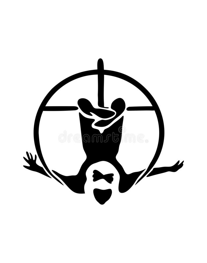 Circus.Silhouette of an Air gymnast upside down on a hanging Hoop. vector illustration