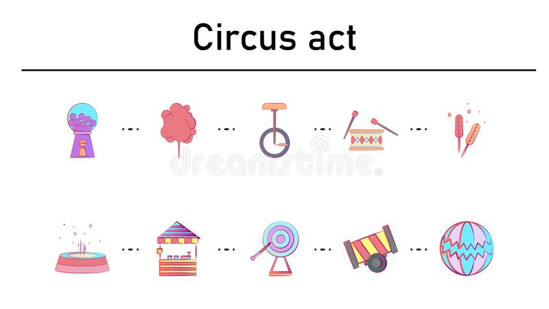 Circus simple concept flat icons set stock illustration