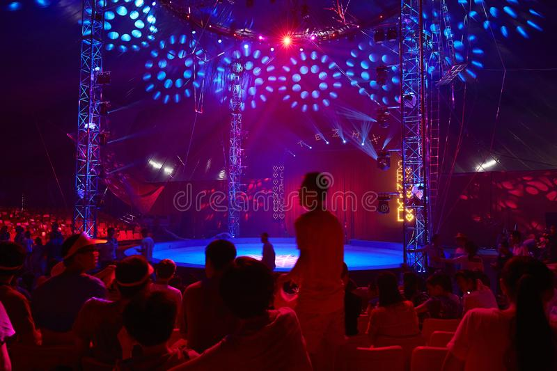 Circus stage in purple atmosphere stock photos