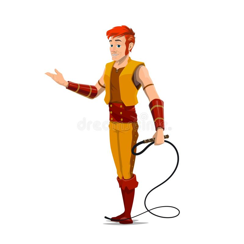 Circus tamer or performer with whip. Tamer with whip, animal trainer or handler vector character. Entertainer in carnival costume and show equipment. Big top stock illustration
