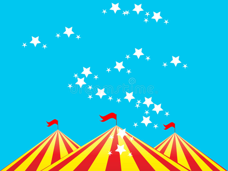 Circus tent. Illustration of a circus tent against sky background with stars