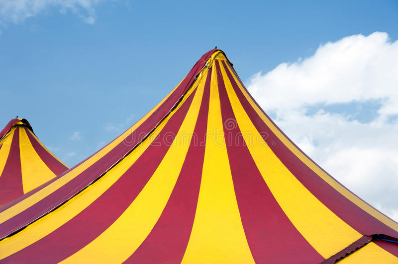 Circus tent. Red and yellow stripped royalty free stock image