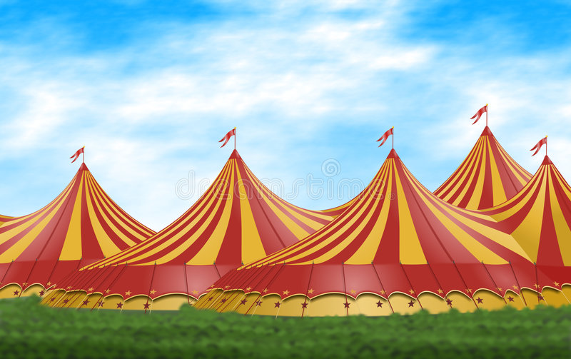Circus Tent. Red and yellow circus tents placed on a green field