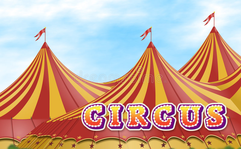 Circus Tent. Red and yellow circus tents placed on a green field with a sign vector illustration